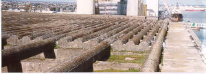 "Top layer of 7- section, 25 foot ""Fangrost"" defense system at St. Nazaire (author's collection)."